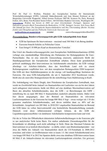 Pressemitteilung: Bundesverfassungsgericht gibt EZB ... - EIIW