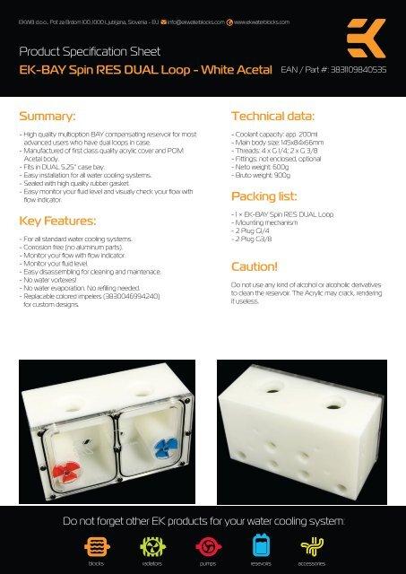 Product Specification Sheet EK-BAY Spin RES DUAL Loop     - EKWB