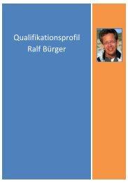 Qualifikationsprofil Ralf Bürger