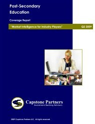 Post-Secondary Education Coverage Report - Capstone Partners