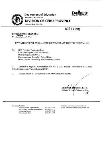 Memo No. 357, S. 2012 - DepEd Cebu Province
