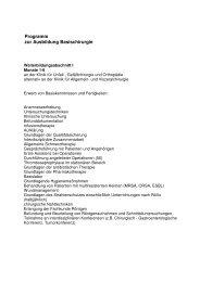 Programm zur Ausbildung Basischirurgie - Klinikfinder.de