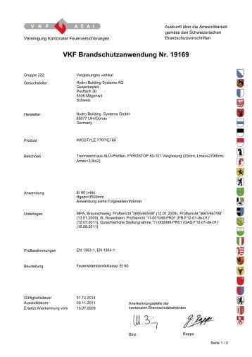 VKF Brandschutzanwendung Nr. 19169 - Wicona.ch