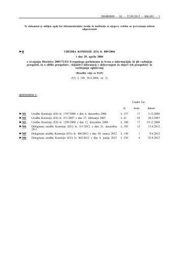 B UREDBA KOMISIJE (ES) Å¡t. 809/2004 z dne 29. aprila ... - EUR-Lex