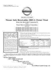 Nissan Auto Receivables 2003-A Owner Trust