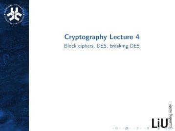 Block ciphers: Principles, DES