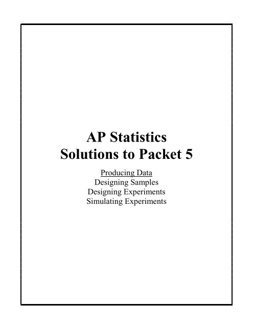 Ap Statistics Solutions To Packet 5