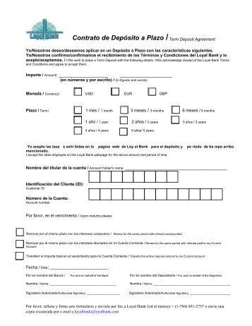 Contrato de Depósito a Plazo /Term Deposit Agreement - Loyal Bank