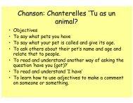 Chanson: Chanterelles 'Tu as un animal?