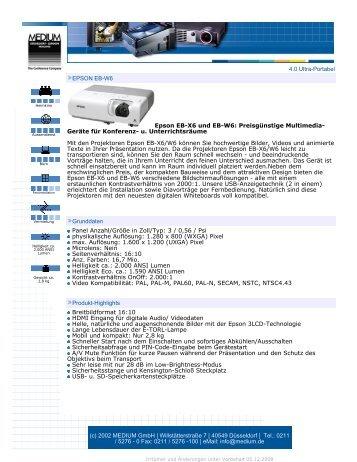 4.0 Ultra-Portabel EPSON EB-W6 Epson EB-X6 und EB-W6