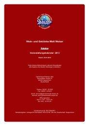 Katalog für Veranstaltungskalendar: 2013 - und Getränke-Welt Weiser