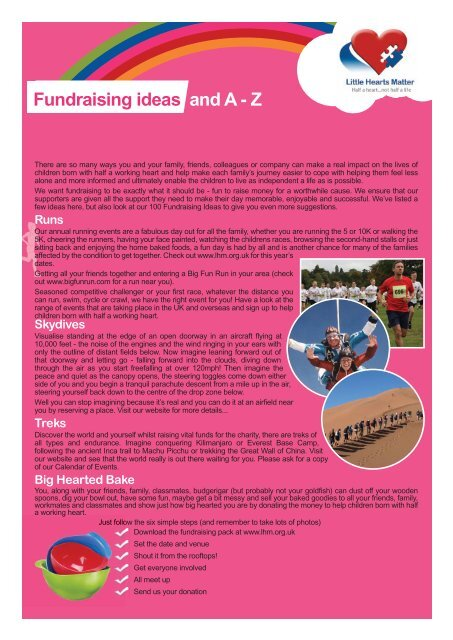 Fundraising Ideas and A to Z - Little Hearts Matter