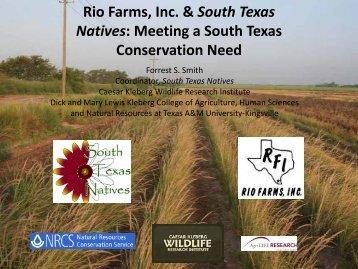 Rio Farms, Inc. & South Texas Natives - Caesar Kleberg Wildlife ...