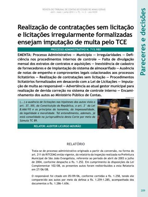 Realização de contratações sem licitação e ... - Revista do TCE