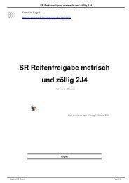 SR Reifenfreigabe metrisch und zöllig 2J4 - Ratpak