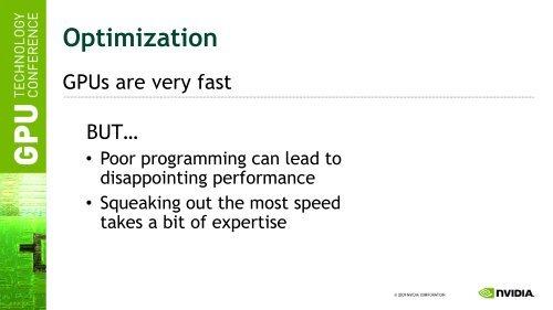 Optimization GPUs are ver