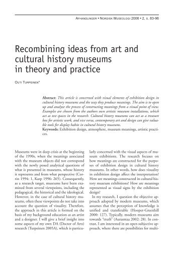 Recombining ideas from art and cultural history museums in theory ...
