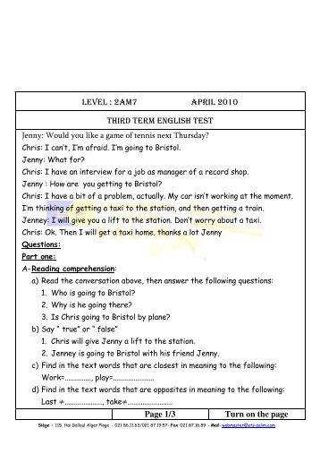 English (American) Level 3 - Tests