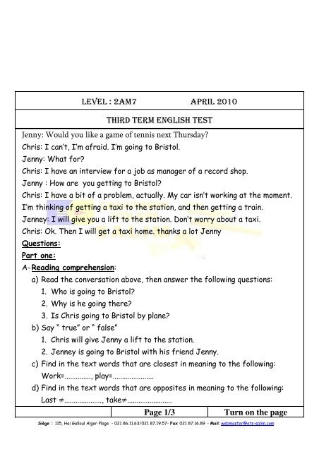 LEVEL : 2AM7 APRIL 2010 THIRD TERM ENGLISH TEST Page 1/3 ...