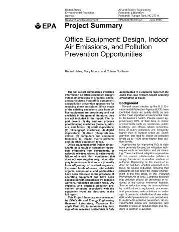 Office Equipment Design Indoor Air Emissions And P2 Infohouse