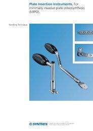 Plate Insertion Instruments. For minimally invasive ... - Osteosyntese