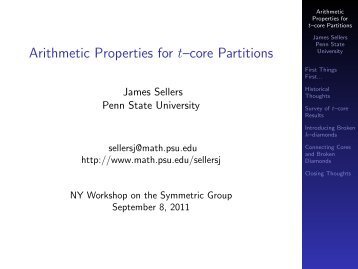 Arithmetic Properties for t–core Partitions - NY Workshop on the ...