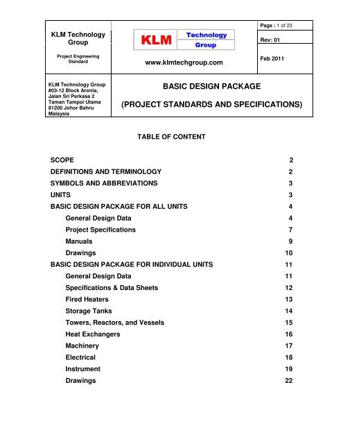 Project Standards And Specifications Engineering Design Guideline