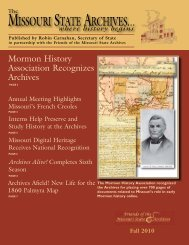 The Missouri State Archives Newsletter Fall 2010 - Friends of the ...