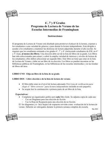 6˚, 7˚y 8˚Grados Programa de Lectura de Verano de las Escuelas ...