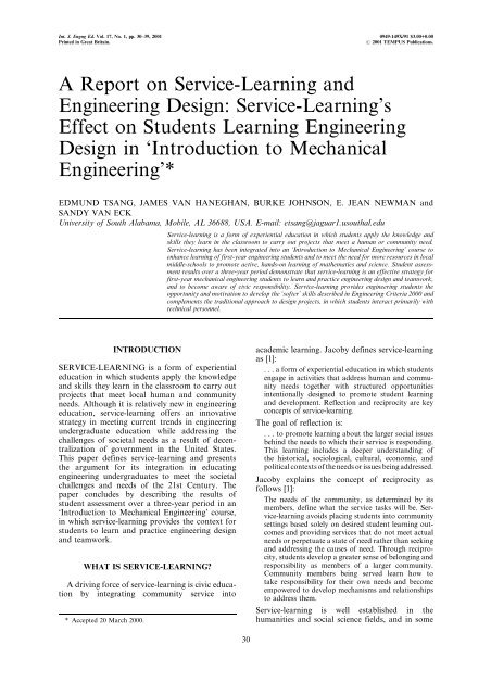 A Report On Service Learning And Engineering Design Service