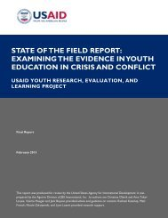 examining the evidence in youth education in crisis and conflict