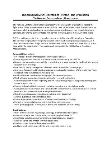 job description national center on family homelessness