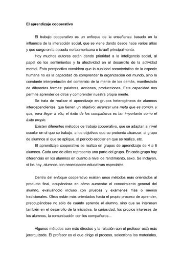 El aprendizaje cooperativo - Página principal