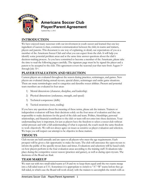 Americans Soccer Club Playerparent Agreement Signature Page