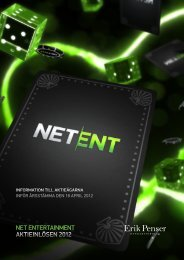 Aktieinlösenprogram 2012 - Net Entertainment