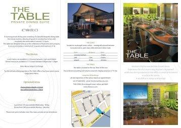 Table Menus - The Coro