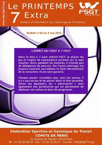 Bulletin n°2 - Le challenge du Printemps FSGT