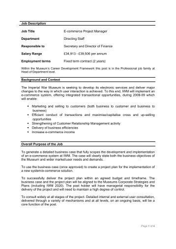 Job Description Job Title: Technical Services Manager Department ...