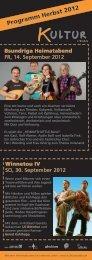 Programm Herbst 2012 - Kultur z'Kobla
