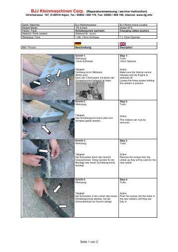 BJJ Kleinmaschinen Corp. (Reparaturanweisung / service instruction)