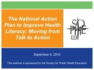 The National Action Plan to Improve Health Literacy - Society for ...