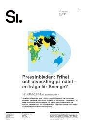 Pressinbjudan: Frihet och utveckling på nätet ... - Svenska institutet