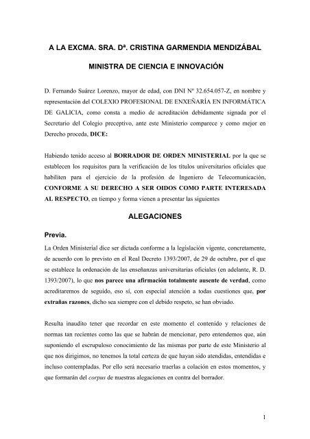 Escrito - Colexio Profesional de Enxeñaría en Informática de Galicia