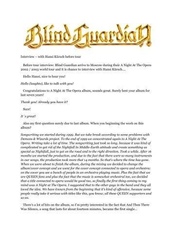 Blind Guardian: Interview with Hansi Kürsch Before Tour
