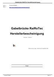 Gabelbrücke RaiRoTec Herstellerbescheinigung - Ratpak