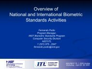 Overview of National and International Biometric Standards Activities