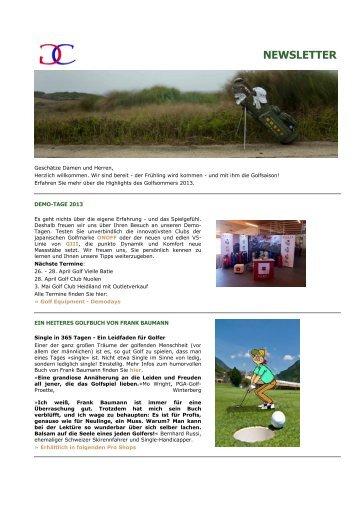 Newsletter Nr. 1, April 2013 - Caligari Golf Equipment AG