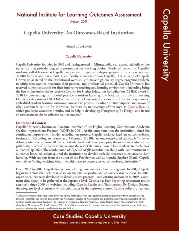Capella University - National Institute for Learning Outcomes ...
