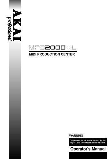 MPC2000XL Manual - Platinum Audiolab
