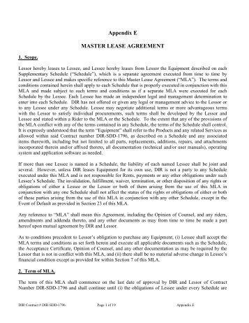 Master Lease Agreement  Texas Department Of Information Resources